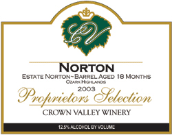 Crown Valley Winery 2002 Norton  (Missouri)
